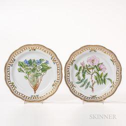 Two Royal Copenhagen Flora Danica Dessert Plates