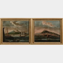Italian School, late 19th Century      Lot of Two Italian Port Scenes with American Shipping.