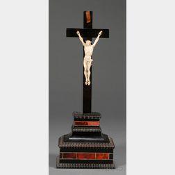 Northern European Ivory, Ebonized Wood, and Tortoiseshell Crucifix