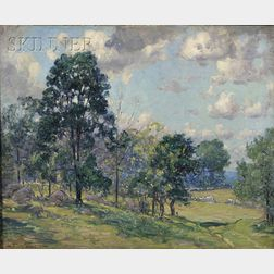 Frederick Mortimer Lamb (American, 1861-1936)      Landscape with Sheep at Pasture