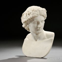 Italian School, Late 19th/Early 20th Century       White Marble Bust of Antinous as Dionysus