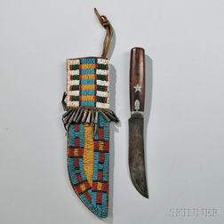 Central Plains Beaded Hide Knife Sheath