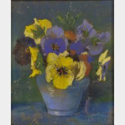 Marguerite Stuber Pearson (American, 1898-1978)      Yellow and Blue Pansies