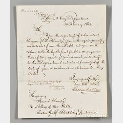 Welles, Gideon (1802-1878) Two Secretarial Letters Signed.