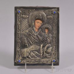 Russian Silver Riza Icon of the Madonna and Child
