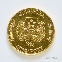 1984 Singapore $10 One Oz. Gold Coin.