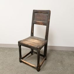 Early Black-painted Plank-seat Side Chair