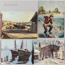 Paul Ernest Goodridge (American, 1912-1991)  Four Unframed Oil Paintings: Fly Fisherman, Snowy Village Street, and Two Views...