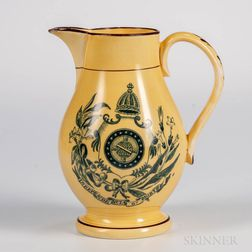 Yellow-glazed Staffordshire Brazil Independence Jug