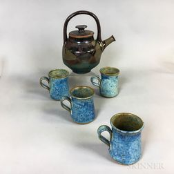 Michael Cohen (American, b. 1936) Pottery Teapot and Set of Four Mugs