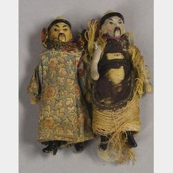 Two Small All-Bisque Oriental Dolls