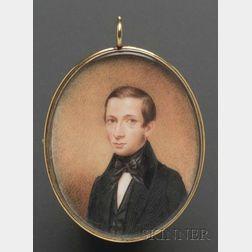 """Portrait Miniature of """"Francis E. Childs at the age of 21,"""""""