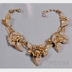 Vintage Imitation Pearl Leaf and Blossom Necklace, Miriam Haskell