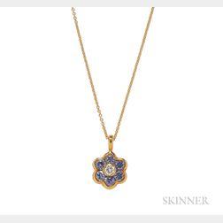 18kt Gold, Sapphire, and Diamond Flower Pendant, Asprey