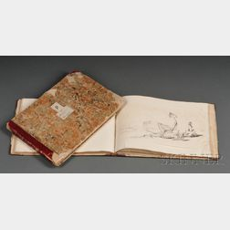 School of George Chinnery (English, 1774-1852)      Two Sketchbooks with Approximately Fifty-five Drawings, c. 1820-30