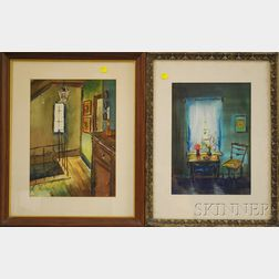 Henriette Palmer (American, 1909-1988)      Two Framed Watercolors of Historic Interiors: Emily Dickinson's Home, Amherst