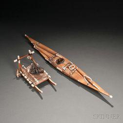 Eskimo Miniature Kayak and Dog Sled