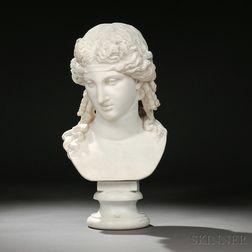 Continental School, 19th Century       Carrara Marble Bust of a Greek God, Possibly Dionysus