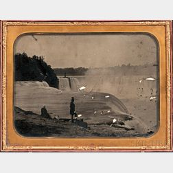 Attributed to Platt D. Babbitt (American, 1823-1879) Whole Plate Ambrotype of a Man and Woman Viewing Niagara Falls, Taken from the Pro