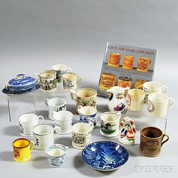 Twenty-one Pieces of Transfer-decorated Pottery