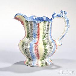 Five-color Rainbow Spatterware Pitcher