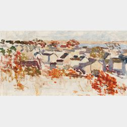 Nancy Maybin Ferguson (American, c. 1872-1967)    Sketch - Houses, from the Provincetown Screen