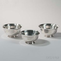 Three Paul Revere-style Sterling Silver Trophy Bowls