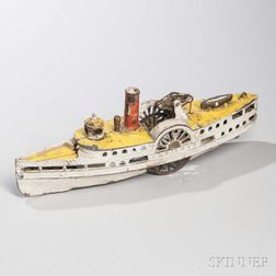 """Cast Iron """"City of New York"""" Steamboat Pull Toy"""
