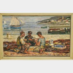 Vjekoslav Parac (Eastern European, 1904-1986)    Sailors Playing Cards
