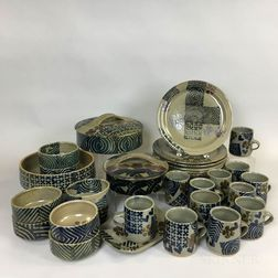 Thirty-six Pieces of Michael Cohen (American, b. 1936) Pottery Tableware