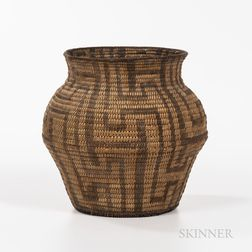 Pima Coiled Basketry Storage Jar