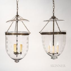 Two Etched Glass Pendant Lights with Rods