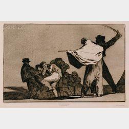 Francisco de Goya (Spanish, 1746-1828)      Disparate Conocido - Que Guerrero!