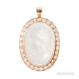 14kt Gold, Moonstone Cameo, and Diamond Pendant