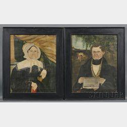 American School, 19th Century      Folk Portraits of Henry and Anna (Bellinger) Ehle of Chittenango Village, New York,   c. 1838.