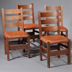 Four Gustav Stickley Dining Chairs