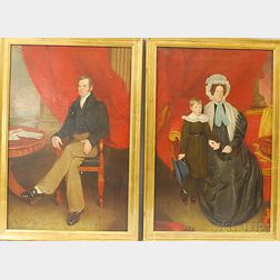 British School, 19th Century      Pair of Family Portraits:  Gentleman