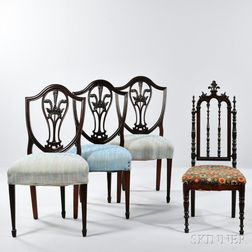 Three Signed Gillow Chairs and a Child's Chair