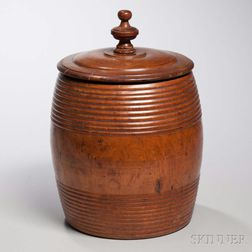 Large Treen Barrel-form Lidded Container