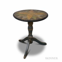Country Paint-decorated Pine Candlestand