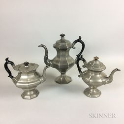 Leonard Reed & Barton Pewter Teapot and Coffeepot and a James Dixson & Sons Teapot
