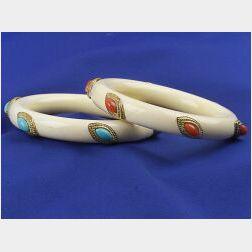 Two 18kt Gold, Bone and Gem-set Bangle Bracelets
