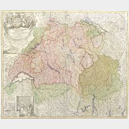 Two Hand-colored Decorative Maps of Switzerland