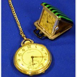 German Eszeha Art Deco Silver and Enamel Travel Clock