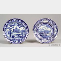 Two Blue Transfer Decorated  Historical Staffordshire Pottery Plates