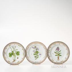 Twenty-one Royal Copenhagen Flora Danica Plates