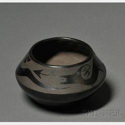 Southwest Black on Black Pottery Bowl