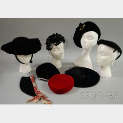 Eight Vintage Velvet and Fabric Hats and Caps