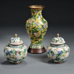 Three Cloisonne Jar Vases