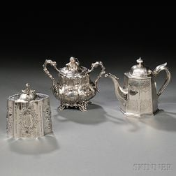 Three Pieces of American Coin Silver Tea Ware